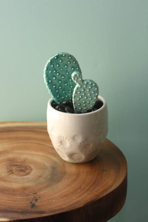 porcelain cactus and pot