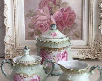 Vintage Hand Painted Nippon Porcelain Biscuit Jar - Creamer/Sugar 3 Piece Set - Shabby Chic Pink Roses - Shabby Chic Decor