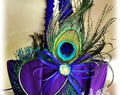 Peacock weddings flower girl basket Purple and Royal Blue with peacock feathers..