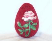 Easter Egg - Needle Felted - Extra Large  - Rose on Cranberry Red Egg - Easter Decor - Easter Gift - Needle Felting  - Easter Felt