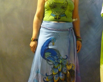 Forest eyes Long Tie dye skirt hippie boho handpainted peacock design belt peacock skirt feather decorations greens and blue sz L/XL