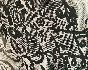 Black & White Print Silk Chiffon Fabric 54 in Wide By the Yard C350