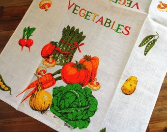 Unused Vintage Linen Kitchen Towel Vegetables Mushrooms Asparagras Lettuce Radishes MWT Paper Label