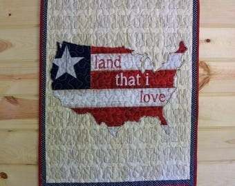 Wall Hanging Quilt American Flag Door Banner Quilted Patriotic Room Decor July 4th Wall Art