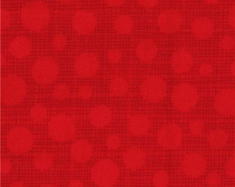 211507 red Michael Miller fabric red dot dark red grid Hash Dot