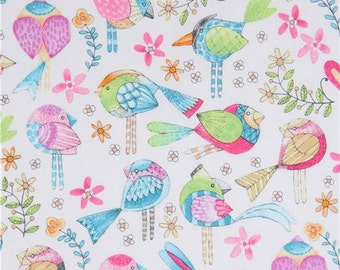 213635 white Michael Miller fabric colorful cute bird Tweet Me