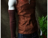 ABJD Soom SG Super Gem Brown Faux Suede Panel sleeveless Top and Armwarmer set