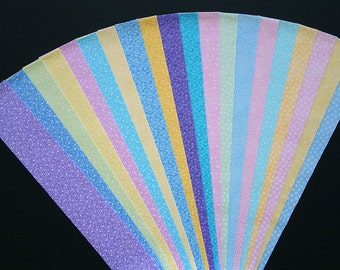 Fabric Lullaby Pastel Cotton Jelly Roll Quilting Strip Pack Material Die Cut 20 Strips No Dups  (sku JR120-LULLgd)