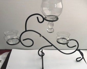 Votive Holder , metal form, Glass included   , table stand free standing, V1015,  1 ea