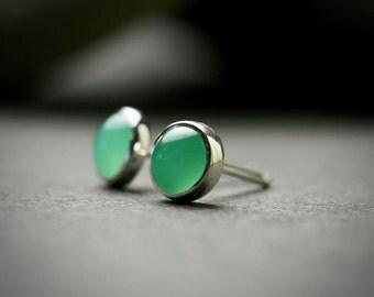 4mm chrysoprase sterling silver bezel set stud earrings