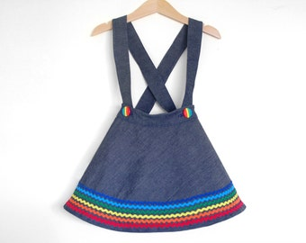 RAINBOW DENIM Toddler Girls Skirt With Suspenders Twirly Baby Girl Retro Everyday Braces