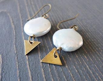 Freshwater Pearl Earrings, Brass Triangle Earrings, Geometric Earrings, White Pearl Earrings, Coin Pearl, Modern Feminine, Chunky Pearls