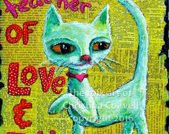 "My Cat is the Best Teacher Instant Download 8 x 10""  printable art from original mixed media contemporary folk art"