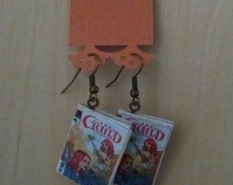 Mini The Guild Comic Book Earrings - Comic Book Jewelry - Handmade Comic Book Earrings - Comic Book Jewelry - The Guild Comic Book Earrings