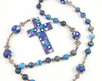 20% OFF Imperial Blue Jasper Anglican Rosary Prayer Beads Episcopal Polymer Clay Canework Protestant Handmade Cross Spirituality & Religion
