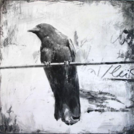 Crow series by Ingrid Blixt - Crow on wire, original encaustic painting on wood