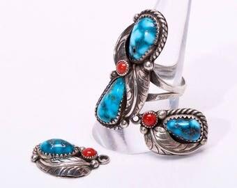 Navajo Ring & Earrings Set - Kingman Water Web Turquoise - 70s Signed - sz 8