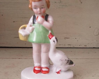 Little Goose Girl - China Figurine - Foreign - 1950's - Girl With Basket & Goose