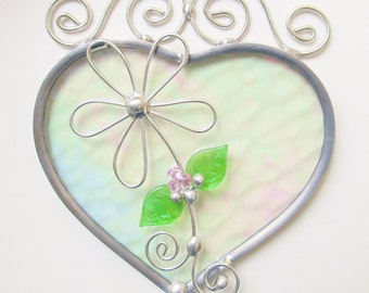 Heart Suncatcher Stained Glass Home Decor Iridescent Heart Leaded Sun Catcher Valentine Window Hanging