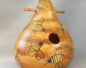 Art Bee Hive Gourd Hand Painted Bird House