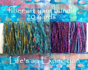 Yarn bundle, fiber art samples, 20 yards blue green purple pink worsted variety pack embellishment i380 Life's an Expedition Thanksgiving