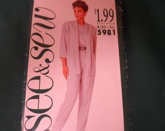 Butterick 5981 See & Sew  Miisses Jacket Top Blouse Pants Pattern Sizes XS-XL  UNCUT