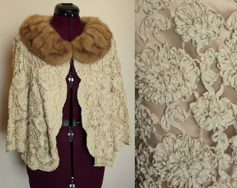 1950s ribbon and lace jacket with mink collar