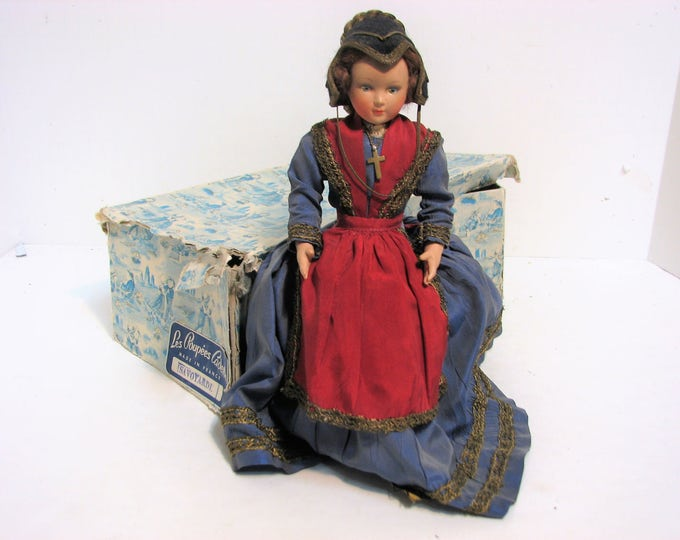 Vintage Les Poupees Cadette Doll in Box, Savoyarde, Made in France, Composition French Doll