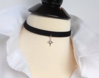 Black Leather Choker, North Star Necklace, Black Choker, Adjustable Choker Necklace, Sterling Silver Lobster Clasp & Extension