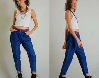 "Stirrup Jeans Vintage 80s Dark Stonewashed Stretch High Waist Tapered Stirrup Denim Jeans (28"" waist)"