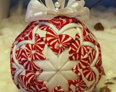 Handmade Christmas Quilted Red, White Peppermint Candy