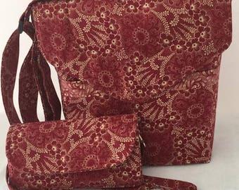 Cross Body Bag and Wallet Set, Red, Adjustable Straps