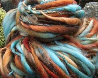 Handspun art yarn, handpainted extreme thick and thin  wool yarn, handmade yarn bulky-Mrs. Fox