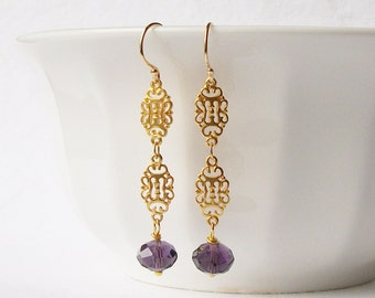 Amethyst Purple and Gold Chain Earrings, Birthstone Jewelry