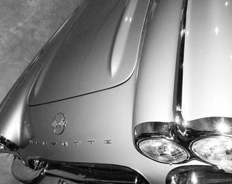 1962 Chevrolet Corvette Front End Hood Photography, Automotive, Auto Dealer, Sports Car, Mechanic, Boys Room, Garage, Dealership Art