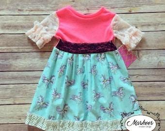 Knit top Carousel Dress- Winter Dress,Unicorn, Carousel, Pastel,  Handmade Dress, Girls Dresses, Mustard Yellow Dress, Autumn Dress
