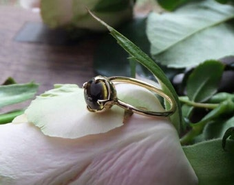 Halo, OOAK Diopside Ring in 18k Yellow Gold, Ready to Ship