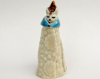 Itty Bity Kitty Cat Figurine Miniature Fine Ceramic Handmade Unique Royal Feline Collectible Miniature Statue in Rustic Colors