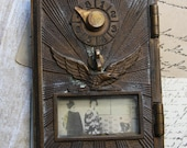 Vintage POST OFFICE Box Door- Metal with EAGLE Sunburst Design- Keyless Postal Box- Industrial Design- J24
