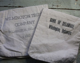 Vintage BANK BAGS with Black Lettering- Bold Graphics- Wilmington, Delaware- Bank of Delaware- Wilmington Trust Company- H14