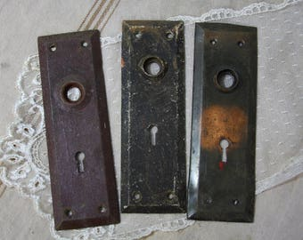 Vintage Distressed ESCUTCHEON Plates Old DOOR Hardware- Salvaged Door Knob Plate Back Plate