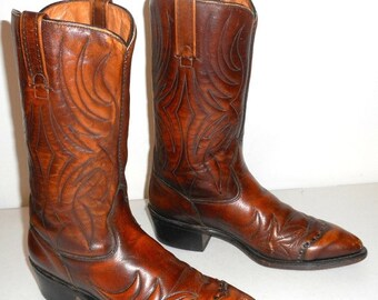 Mens 9.5 D Vintage Cowboy Boots Acme Brown Rockabilly Western Country Shoes