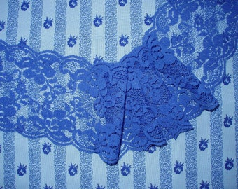 """Dark Blue Flat Lace 1 2/3 yards long x 3 1/4"""" wide Scalloped Edges"""