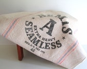 Vintage Bemis Feed Sack Feed Bag Fabric Antique Grain Sack Extra Large Extra Heavy Canvas Bag