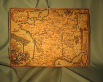 ANTIQUE MAP of FRANCE, Folk Art Map of France all in French, paper map of France in Traditional Style, Folf art Map of France, Map of France