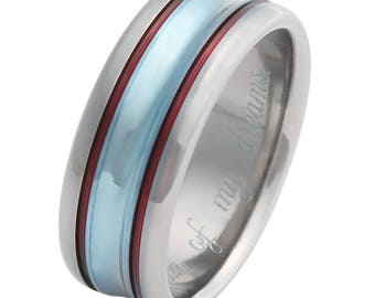 Titanium Wedding Band - Unique Wedding Ring - Blue Ring with Red Stripes - w14