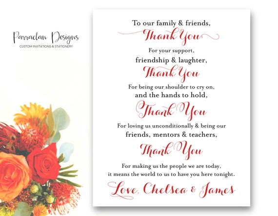 To Our Family and Friends - Thank You Wedding Sign - Wedding Sign - Reception Sign {FS02}