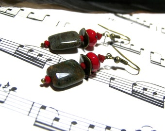 African Onyx Beaded Earrings Red Earrings Picasso Red Czech Earrings Gifts for Women Red