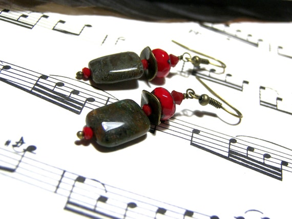 African Onyx Beaded Earrings Red Earrings Picasso Red Czech Earrings Gifts for Women Red