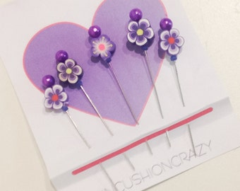 Flower Pins - Decorative Sewing Pins - Embellishment Pins - Gift for Quilter - Sewing Gift - Girlfriend Gift - Quilting Pins - Purple Pins